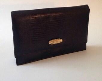 Vintage noir et or ton embrayage convertible ou sac à bandoulière