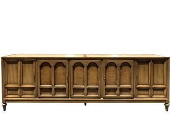 Vintage Italian Provincial Marble Top Sideboard Credenza Furniture 7 ft