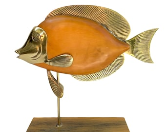 Vintage Brass and Wood Fish Sculpture
