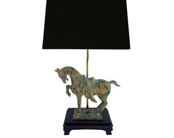 Vintage Tang Dynasty Cast Iron Horse Lamp