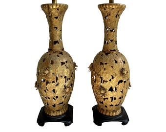 Regency James Mont Style Pierced Bronze Oversized Pair of Table Lamps