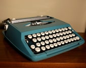 Vintage Blue Typewriter with Original Matching Shell Carrying Case 1960s