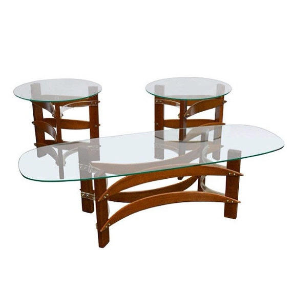 Mid Century Modern Curved Wood & Lucite Coffee And Side