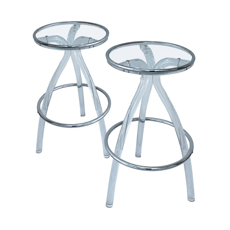 Vintage Clear Lucite Bar Stools 1970s