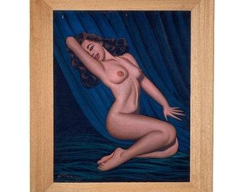 Vintage Rita Hayworth Nude Velvet Painting Dated 1967