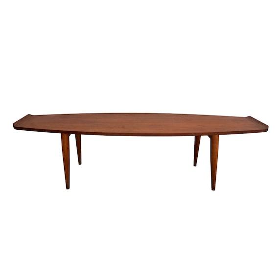Mid Century Modern Coffee Table Surfboard Danish Modern