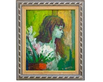 Original Vintage 1960s Vibrant Nude Painting by Louis Anthony Burnett