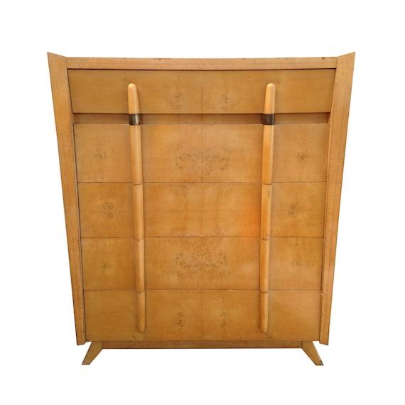 Free Shipping Mid Century Modern Burlwood Highboy Dresser Paul Etsy