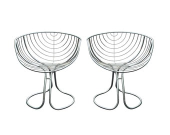 Vintage Pair of Pan Am Chairs Designed by Gastone Rinaldi for Rima