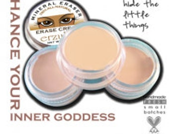 Organic Concealer and Eye Shadow primer | Mineral Erase Cream Concealer Pot |  Acne Safe Makeup  Non-Comedogenic Makeup