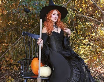 Black Witchy Marie Antoinette Victorian Gothic Ballgown Upscale Witch Halloween Costume Gown u0026 Hat Custom  sc 1 st  Etsy & In Stock New ColorPink/Champagne Marie Antoinette Upscale