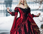 Gothic Winter Wedding Sleeping Beauty Red and Black Sparkle Fantasy Set with Cape Custom XS - 2X