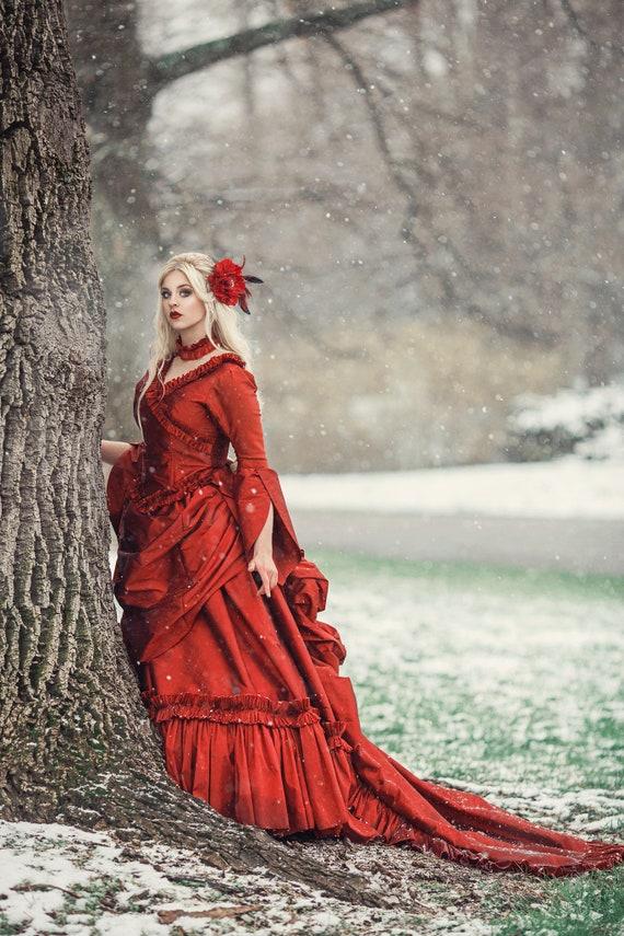 Mina Dracula Victorian Bustle Gown Costume Wedding Halloween | Etsy