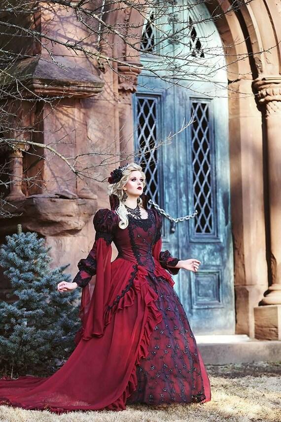 Gothic Sleeping Beauty Princess Medieval burgundy Wedding Dress Bridal Gown