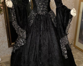 In stock XLarge- Halloween Witch Gown Animal Print Black Gothic Gwendolyn Medieval or Renaissance Gown Velvet and Lace