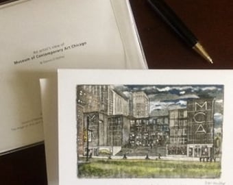 The Museum of Contemporary Art   Chicago  card Set W and Hand colored Etching Aquatint