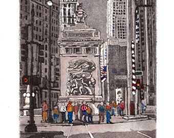 Waiting for the Light at Michigan Avenue and Wacker Drive   original etching