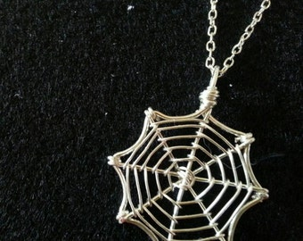 Silver Wire Spider Web Necklace