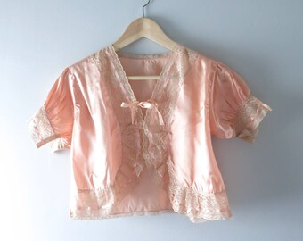 1930s Lingerie Top | 1930s Peach Satin Bed Jacket S | Vintage Bed Jacket