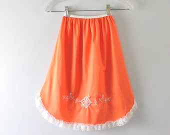 Vintage Orange Slip | 1960s Orange Embroidered Half Slip XS Deadstock