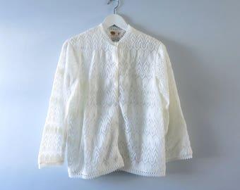 Vintage Ivory Cardigan | 1950s Ivory Crochet Cardigan Sweater M/L