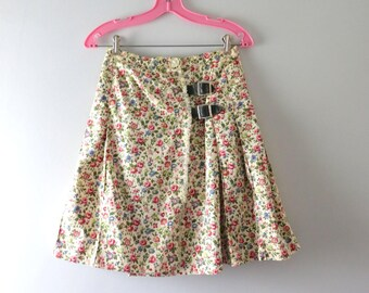 Vintage Pink Floral Skirt | 1970s Floral Print Cotton Pleated  Wrap Skirt M