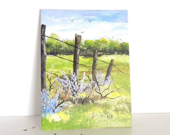 Wild Flowers Painting | Original Hand Painted Acrylic Painting 9x12 | Country Field Wildflowers Fence Post Painting