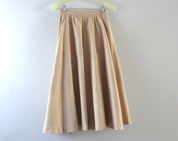 60s Wool Circle Skirt S | 1960s Simon Ellis Tan Wool Midi Circle Skirt | Fall Fashion | Fall Skirts