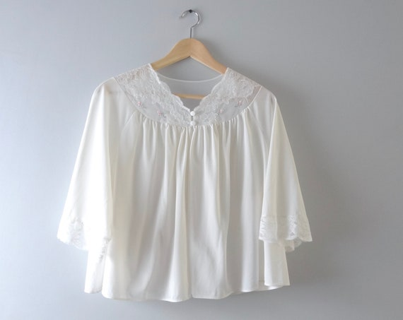 Vintage Bed Jacket L | 1980s Shadowline White Nylon Bed Jacket Pajama Top | 80s Loungewear