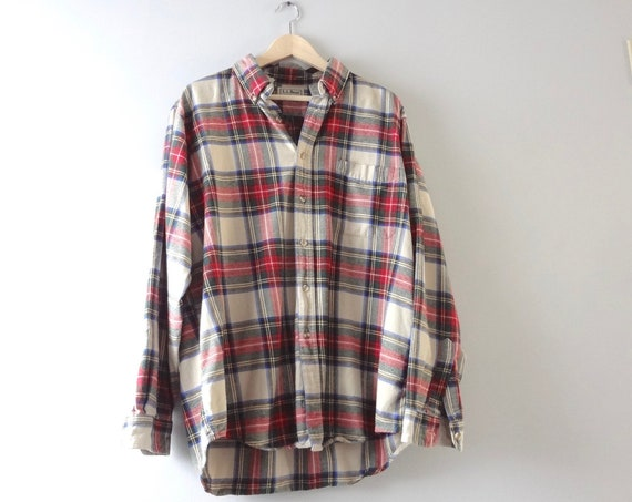LL Bean Flannel Shirt L | 1990s Red Blue Cream Plaid Mens Flannel Shirt Grunge