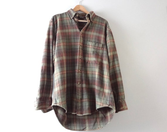 Vintage Flannel Shirt L | 1990s Nautica Green Brown Plaid Cotton Flannel Shirt