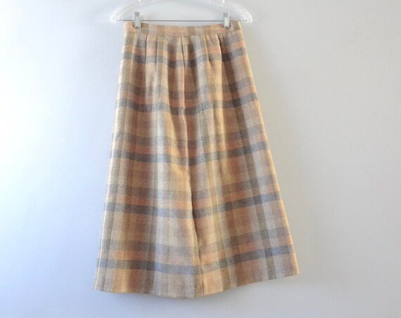 Vintage Plaid Skirt M | 1970s Tan & Gray A Line Wool Plaid Skirt | Fall Winter Fashion | 70s Wool Skirt
