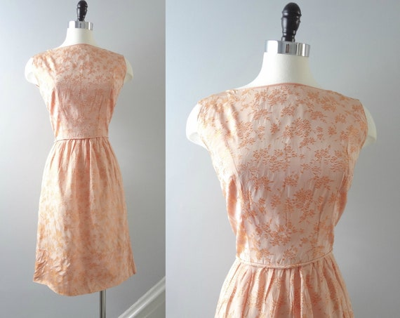 60s Orange Brocade Dress S | 1960s Pale Tangerine Orange Satin Floral Brocade Cocktail Dress