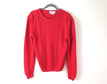 Vintage 80s Red Angora Cable Knit Sweater M