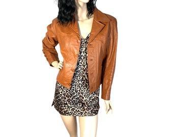 70s Caramel Leather Cropped Jacket L