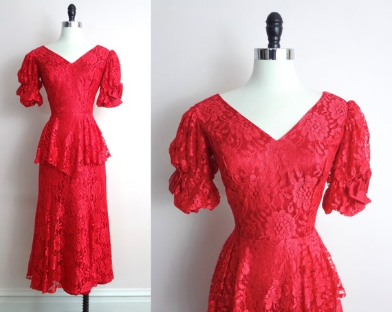 Vintage 80s Red Lace Dress  S | 1980s Red Lace Puff Sleeve Satin Bow Party Dress