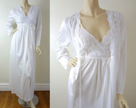Vintage White Peignoir Set S | 1980s White Gilead Peignoir & Nightgown Set Deadstock