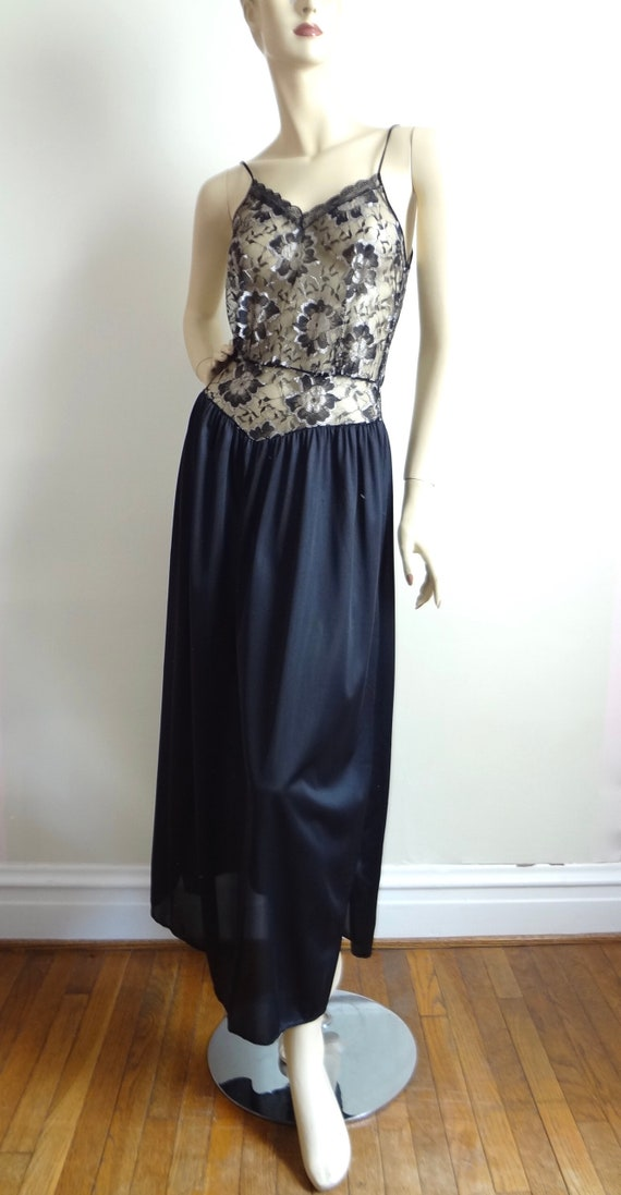 Vintage 80s Lace Bodice Nightgown | Lace Nightie … - image 4