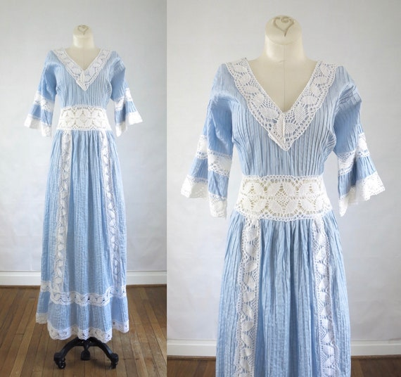 Blue Wedding Gown L | Vintage 1970s Mexican Weddin