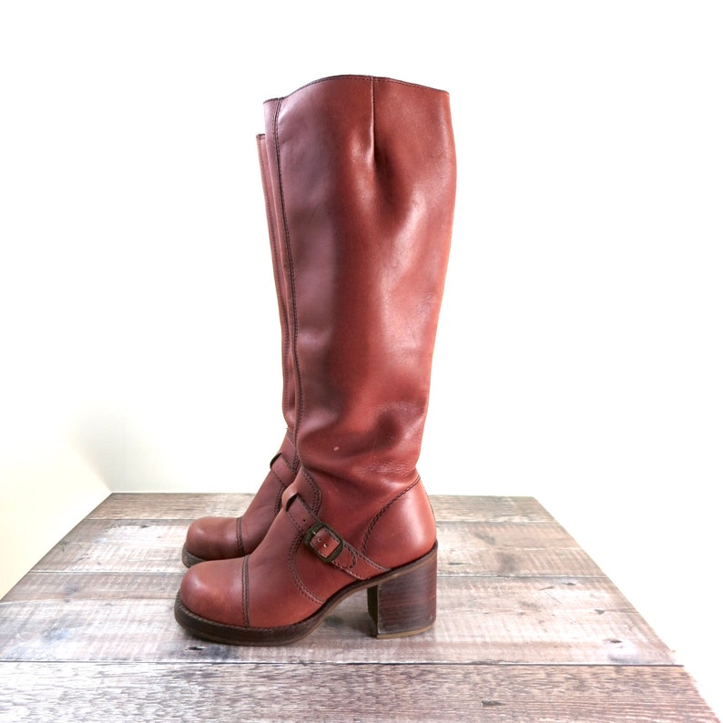 Vintage 1970s Tall Brown Leather Boots 6 image 0