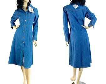 Vintage 70s Denim Midi Dress S Deadstock