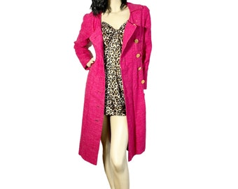 Vintage 80s Pink Double Breasted Coat S