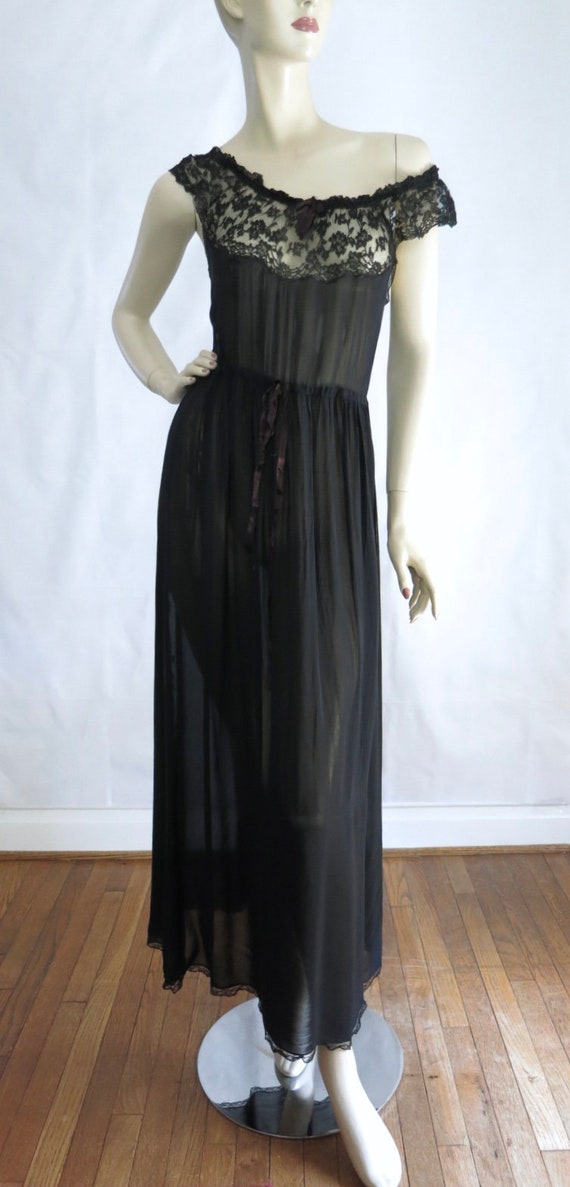 40s Black Gown S   1940s Black Semi Sheer Gown Nightgown