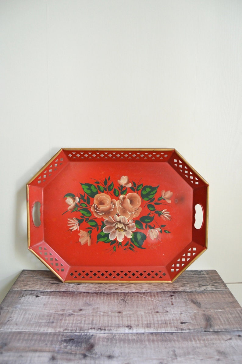Large Red Metal Tole Painted Tray Hand Painted Signed  image 0