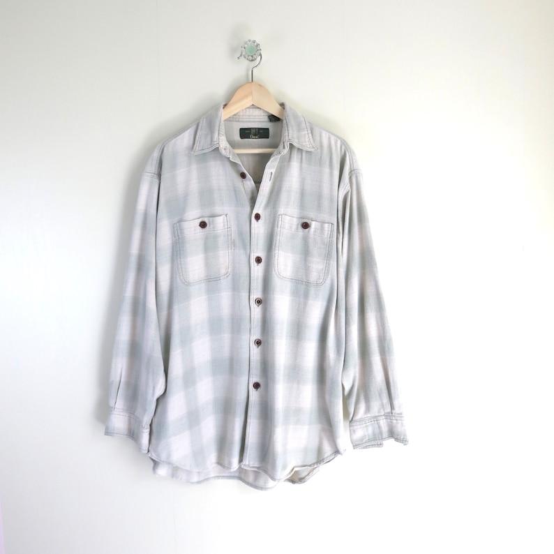 Vintage Flannel Shirt XL  Orvis Pale Green & Ivory Plaid image 0