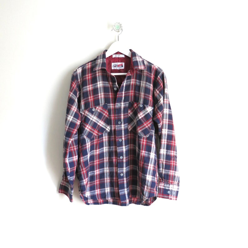 Vintage Flannel Shirt M  1980s Red White Blue Plaid Flannel image 0