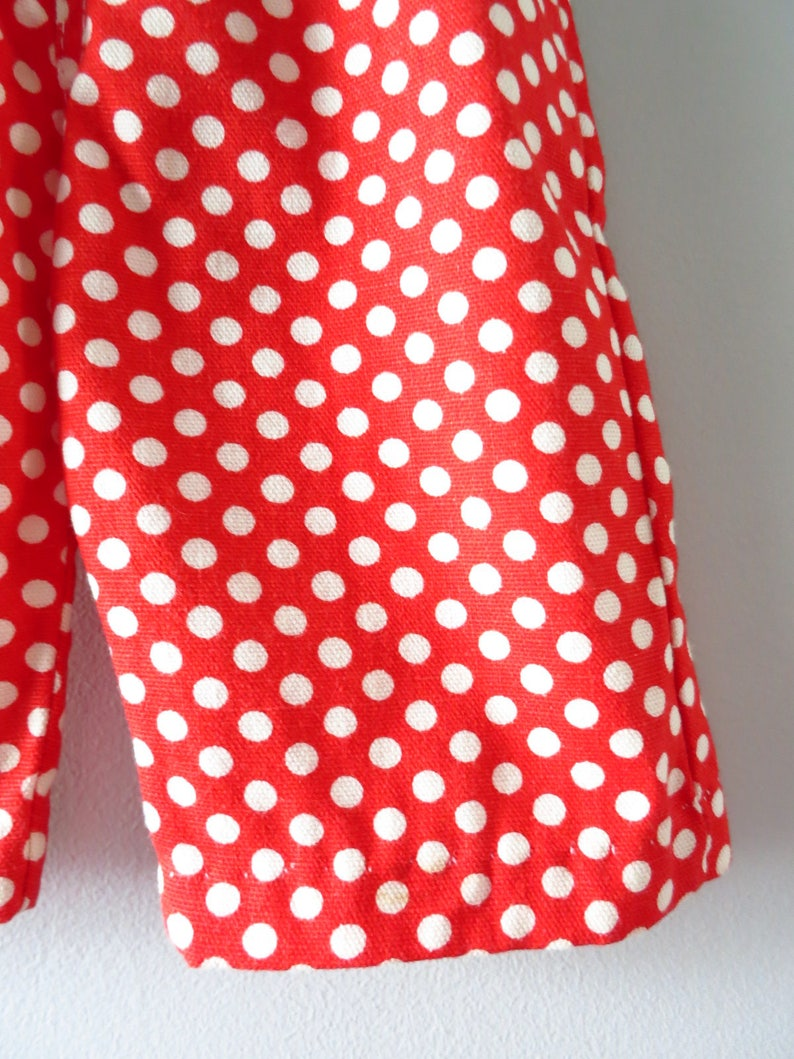 Vintage Baby Clothing 0 to 3 mos Deadstock 1960s Red White Polka Dot Overalls