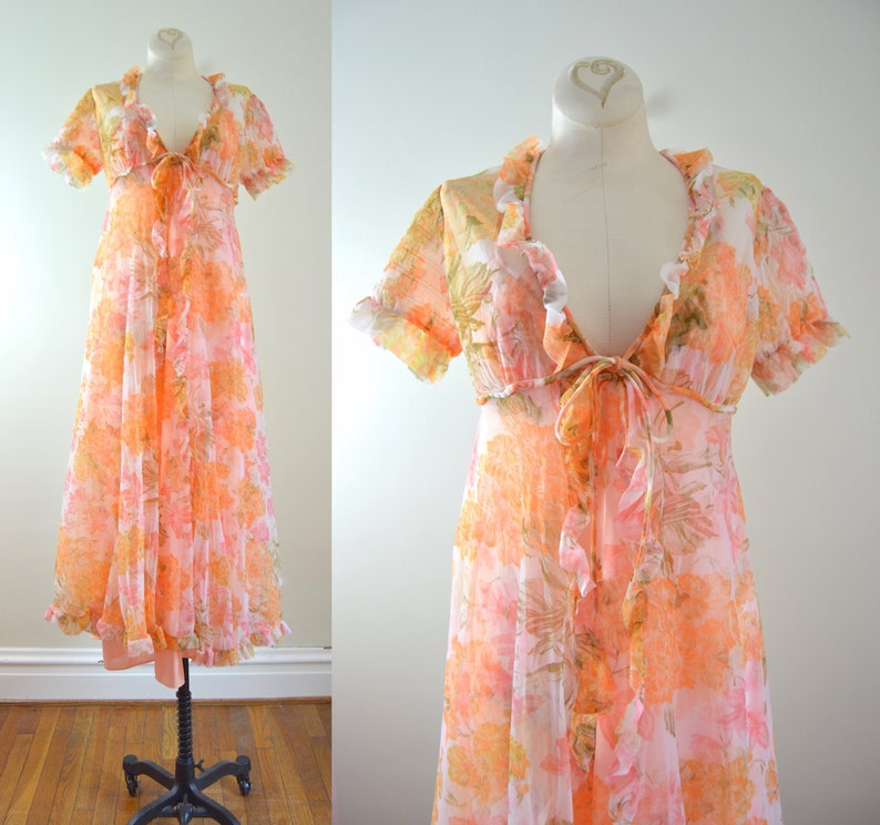 Floral Peignoir Set XS  1970s Val Mode Orange Chiffon Gown & image 0