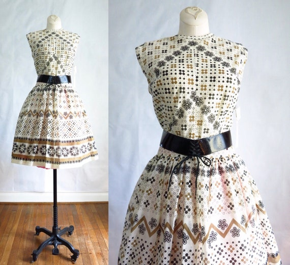 Vintage 60s Summer Day Dress M Deadstock - image 1