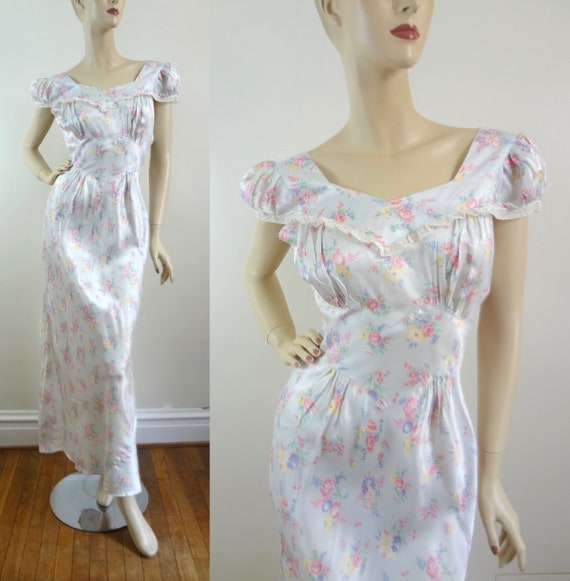 1930s Pale Blue Bias Cut Floral Gown M Deadstock